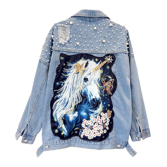 Over-Sized Unicorn Denim Jacket