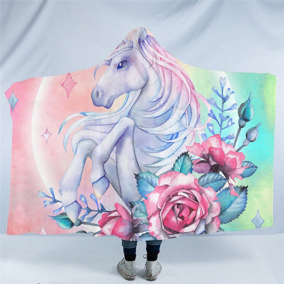 Magical Rose Unicorn Hooded Blacket