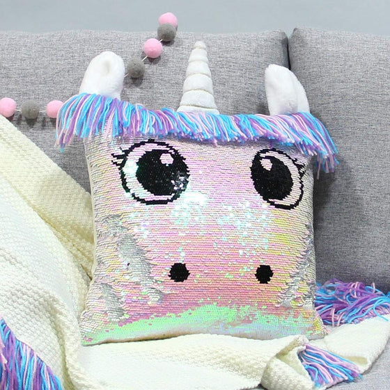 Unicorn Magical Eyes Sequin Pillow Cover