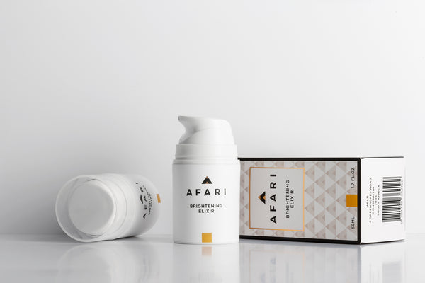 Afari Brightening Elixir fights pigmentation, dark spots and marks, leaving your skin more even and radiant.
