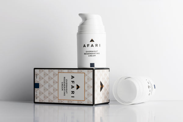Afari Overnight Regenerating Cream is a potent plumping and skin-repairing treatment that works while you sleep. Apply to cleansed face and neck before bed.