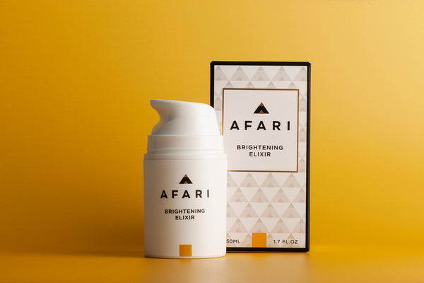 Afari Brightening Elixir is a luxurious skincare serum that fights dark spots and discolouration.
