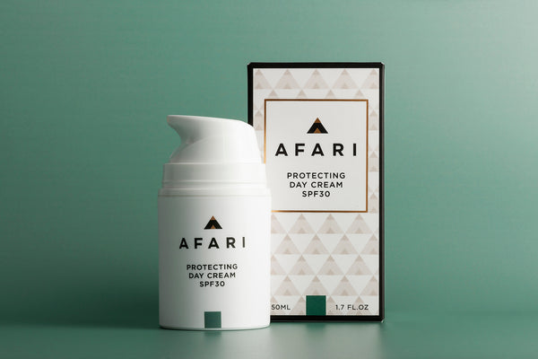 Protecting Day Cream SPF30 - Shop Face online - Afari Skincare South Africa active ingredient, afari, all skin types, clean, color_#AE6659, day cream, skincare, SPF30, sunscreen