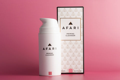Afari Priming Cleanser is a gentle foaming face wash that is formulated to help remove makeup and impurities. Gentle enough for everyday use.