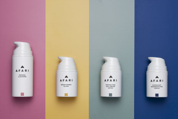 The Afari skincare collection addresses 8 major signs of skin ageing in 4 products: Priming Cleanser, Day Cream SPF30, Regenerating Overnight Cream and Brightening Elixir