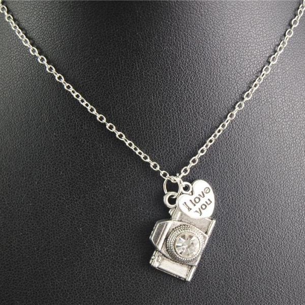1pc Rhinestone Camera Pendant