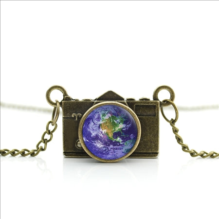Mini Camera Necklace of Earth World Map Pendant