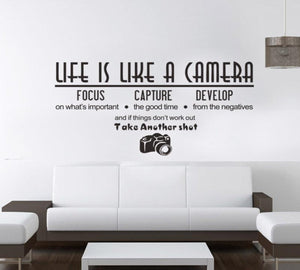Life Is Like A Camera Letter Wall Stickers
