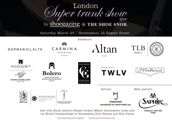 bespoke shoemaker Norman Vilalta at the London Super Trunk Show 2019 by Shoegazing and The Shoe Snob