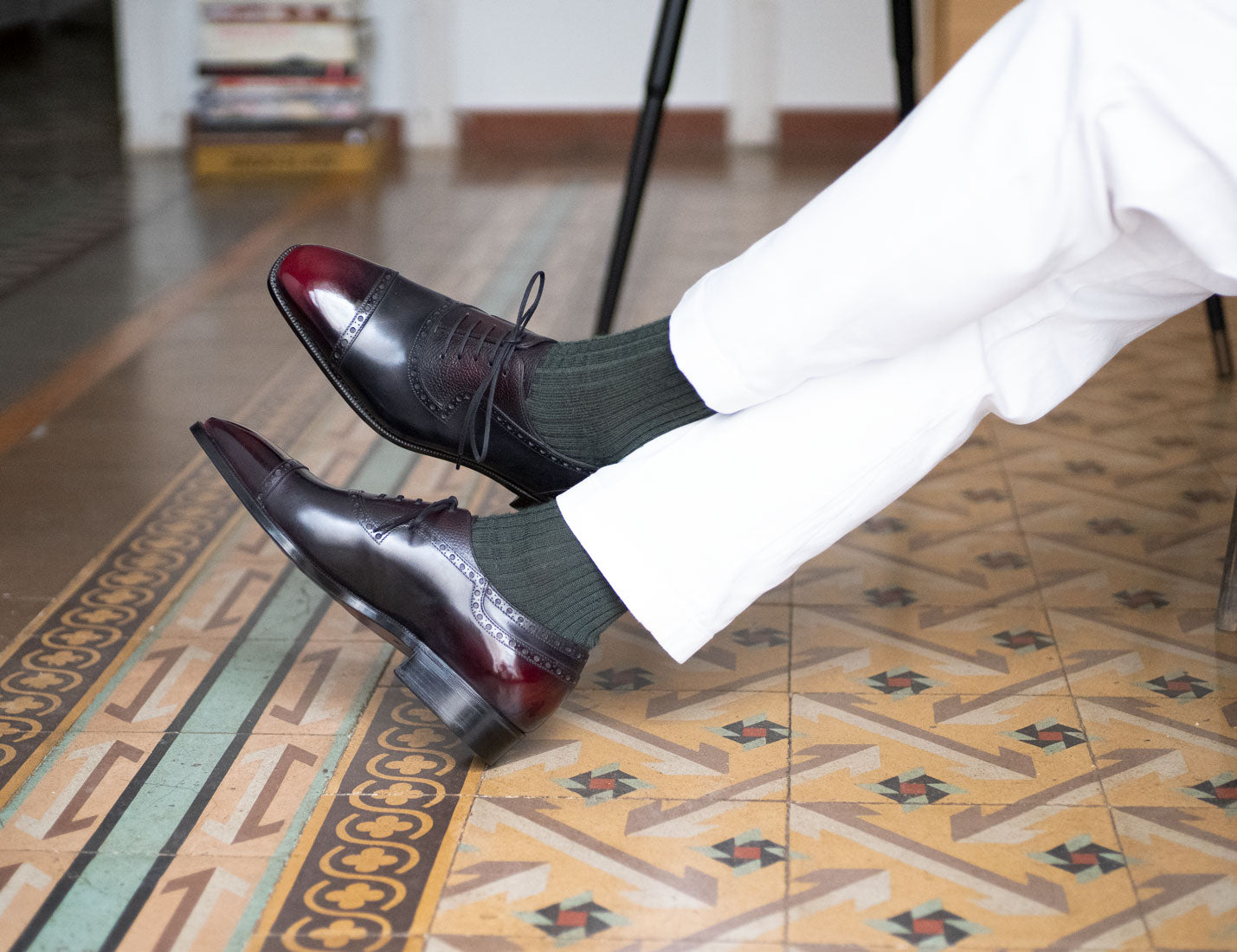 Adelaide Full Brogue Black and Bordeaux