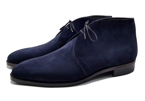 Norman Vilalta made-to-order Chukka Boots in blue sued and made in Spain