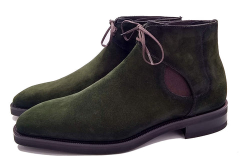 Norman Vilalta made-to-order Decon Chelsea Boot in green suede and made in Spain