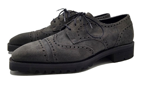 Norman Vilalta made-to-order Derby Megabrogue shoe in wintersmoke suede and made in Spain