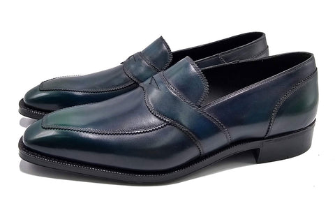 Norman Vilalta made-to-order Penny Loafer in green box calf leather and made in Spain