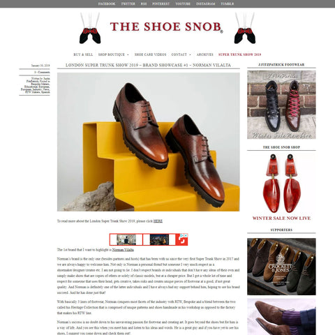 Norman Vilalta mens leather shoes in Barcelona Shoe Snob London Super Trunk Show 2019