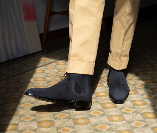 Decon Chelsea Boot in midnight suede by Norman Vilalta