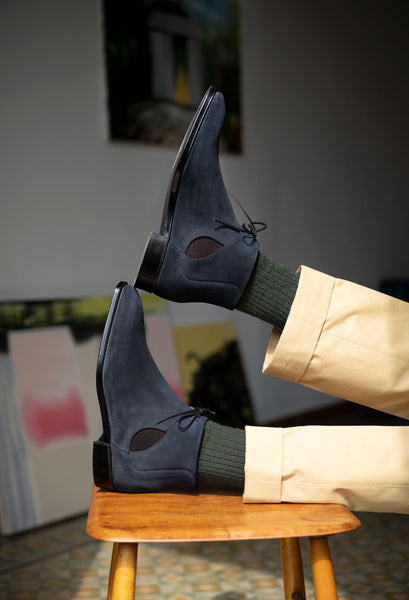 Decon Chelsea Boot in midnight blue suede