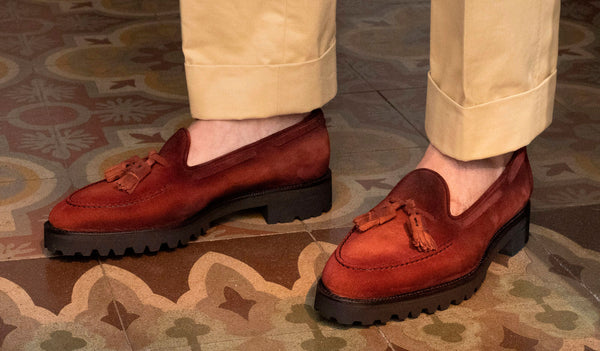 Dirty red suede Tassel Loafer by Norman Vilalta