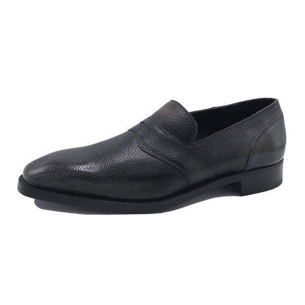 Made to Order Penny Loafer with Vibram Button Sole (without Apron) - Dark Blue Grain Calf Leather