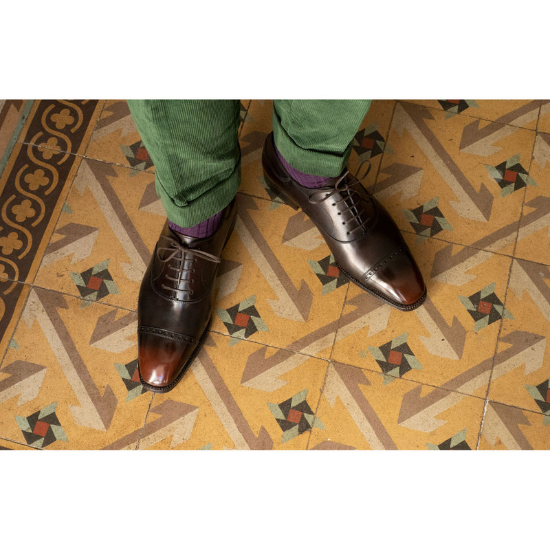 Cap Toe Oxford Shoe - Black and Brown Patina