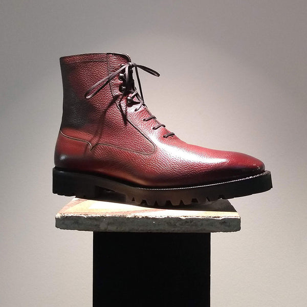 Antonio Balmoral Boot (Made-to-Order) - Rosewood Grain Leather