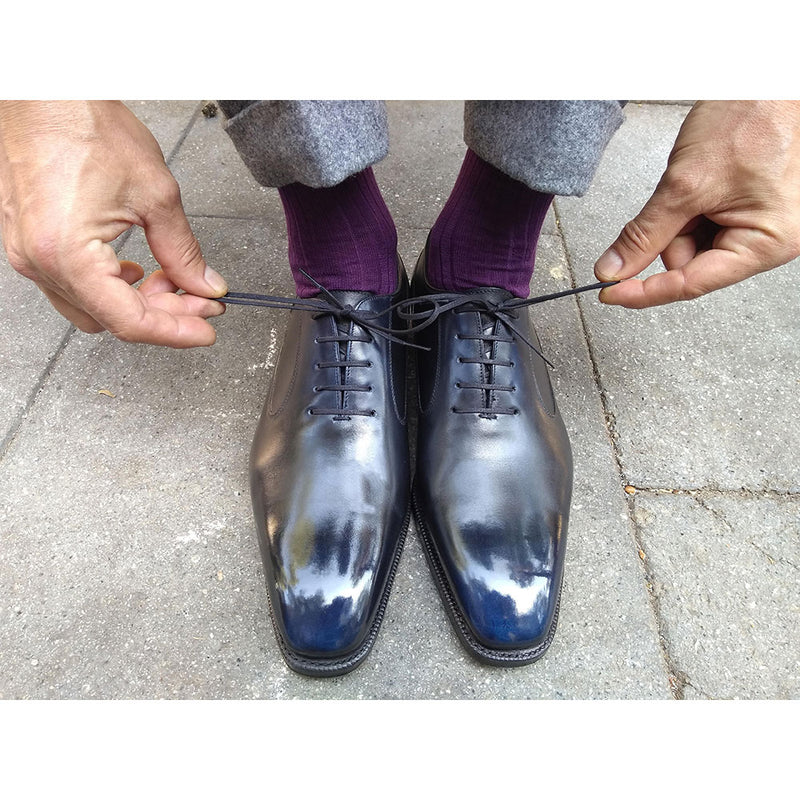 Balmoral Oxford Shoe (Special Order for Reza) - Black and Navy Blue Patina
