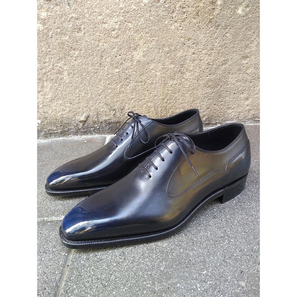 Balmoral Oxford Shoe (Made-to-Order) - Black and Navy Blue Patina