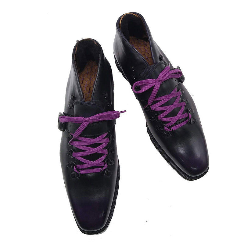 Borcego Mountain Boot with Strap (Made-to-Order) - Black & Purple Box Calf