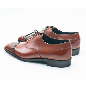Cap Toe Oxford Shoe - Cognac Box Calf Leather