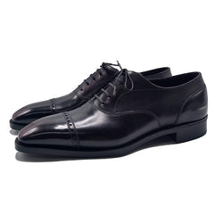 Cap Toe Oxford Shoe - Black and Bordeaux Patina (EE Last for Tare)
