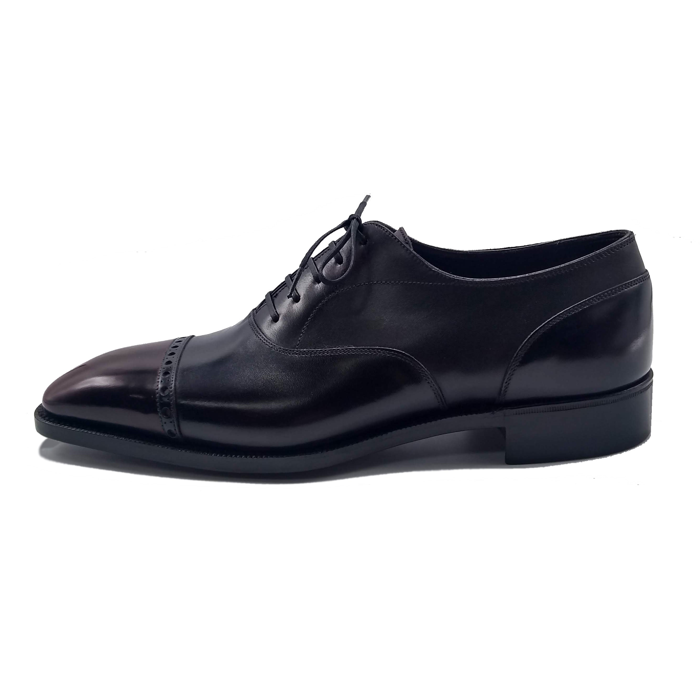 Cap Toe Oxford Shoe - Black and Bordeaux Patina