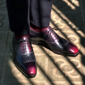 Men's cap toe oxford shoes made in Spain