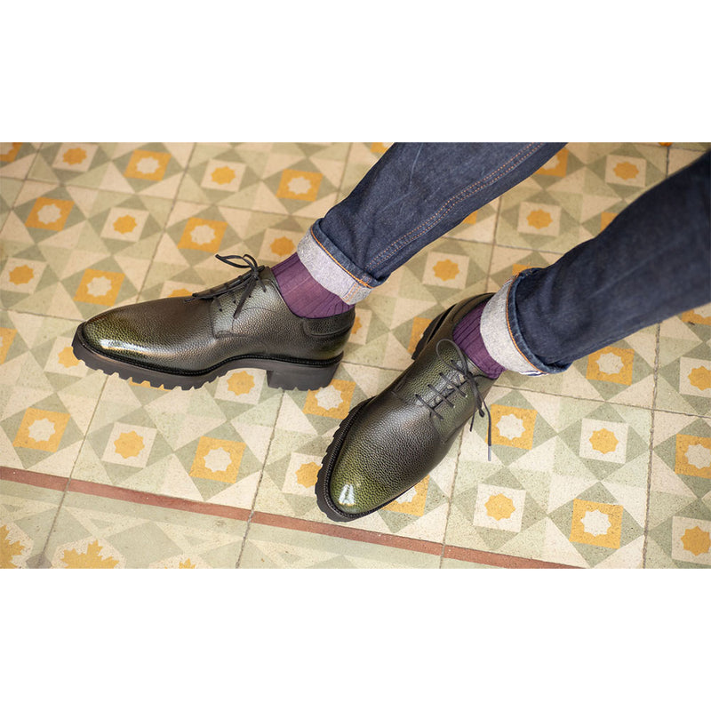 Derby Simple Shoe - Green 3D Patina