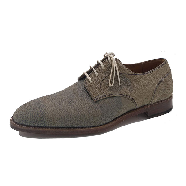 Derby Simple Shoe (Made-to-Order) - Light Blue Textured Suede