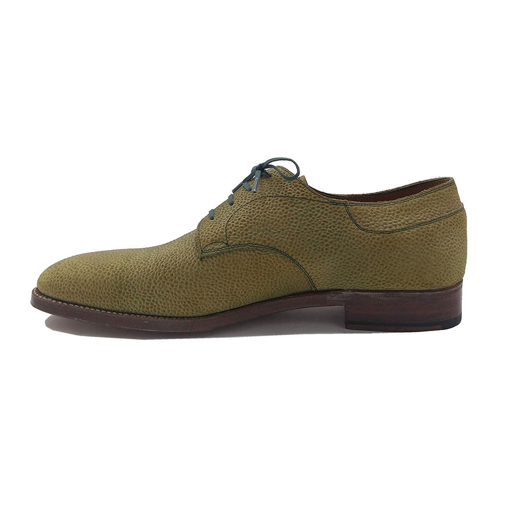 Derby Simple Shoe (Made-to-Order) - Green / Khaki Textured Suede