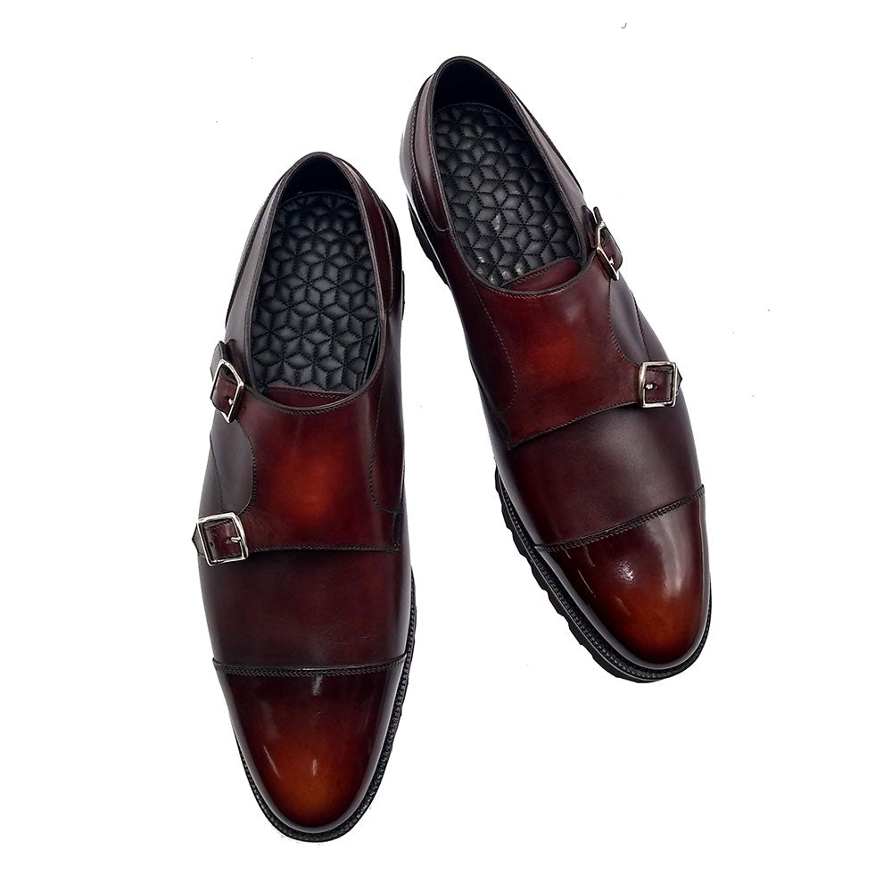 Double Monk Cap Toe Shoe (Made-to-Order) - Dark Mahogony Box Calf