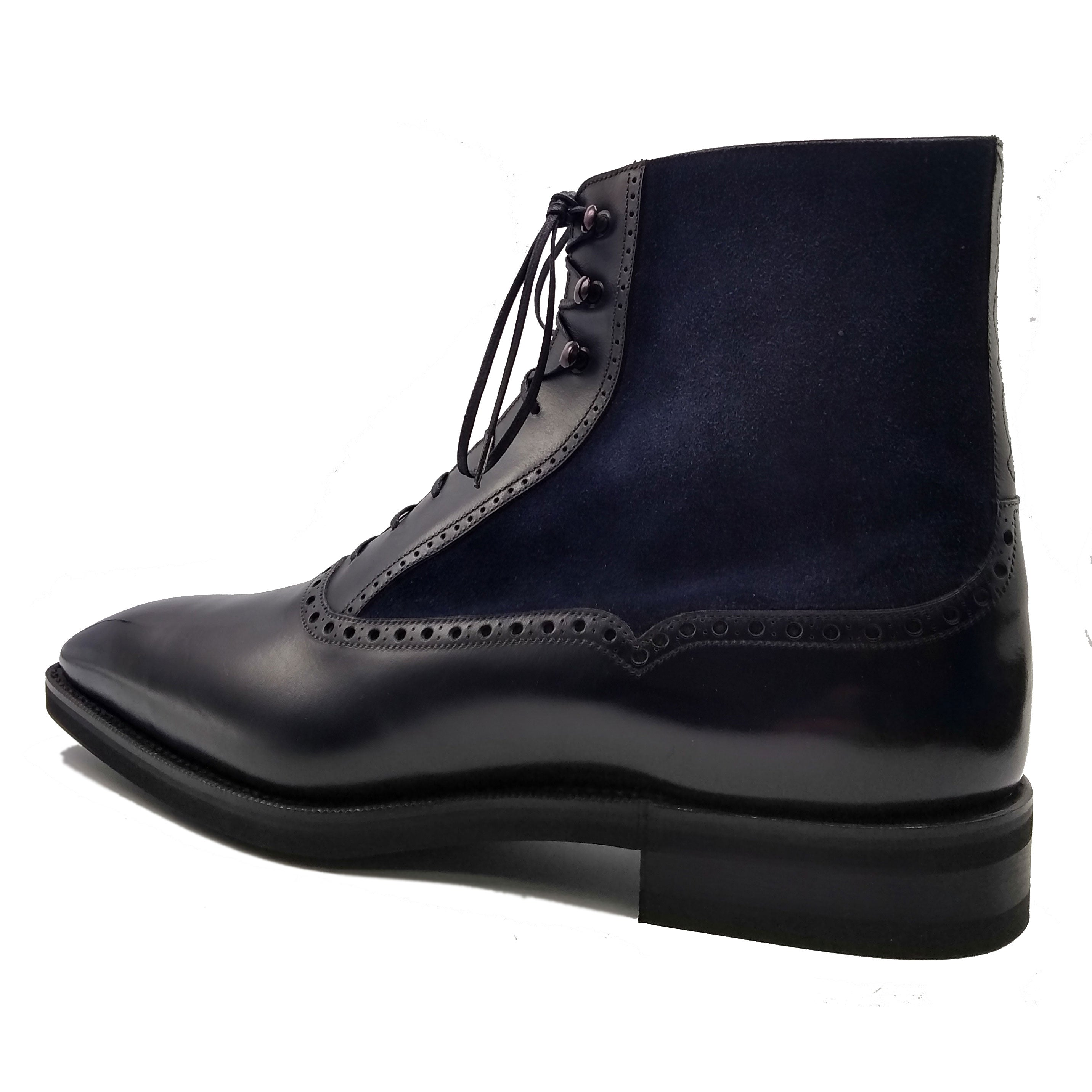 Balmoral Boot (Made-to-Order) - Black and Blue Box Calf & Suede