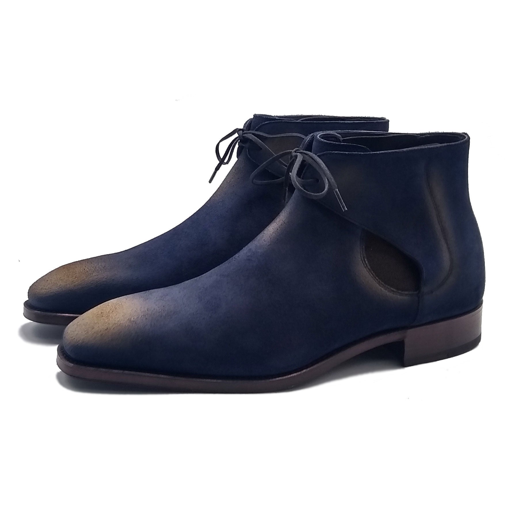 Tassel Loafer with Apron (Made-to-Order) - Gaucho Blue Suede
