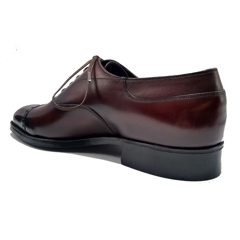 Cap Toe Oxford Shoe - Dark Brown Handmade Patina