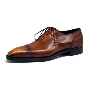 Cap Toe Oxford Shoe - Cognac Patina