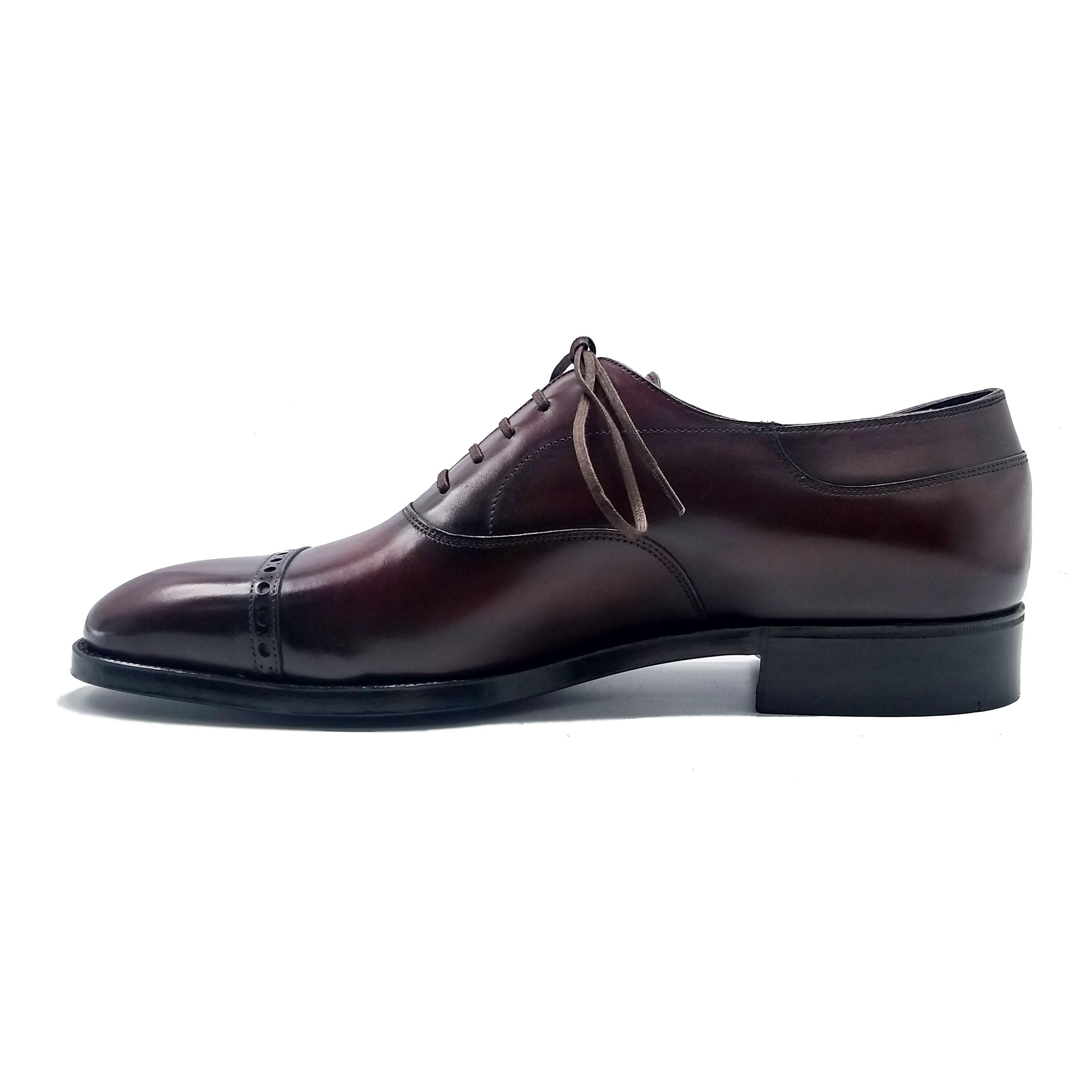 Cap Toe Oxford Shoe - Brown Handmade Patina