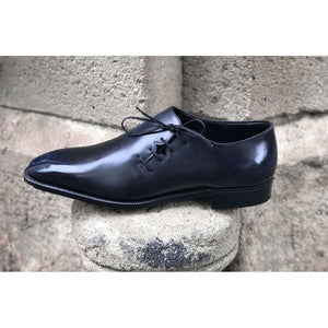 Wholecut Oxford Shoe - Black and Blue Patina