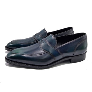 (Special Order) Penny Loafer with Vibram Commando Sole - Blue/Grey Patina
