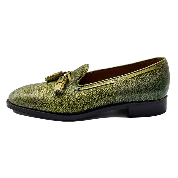 Tassel Loafer (Made-to-Order) - Light Green 3D Patina