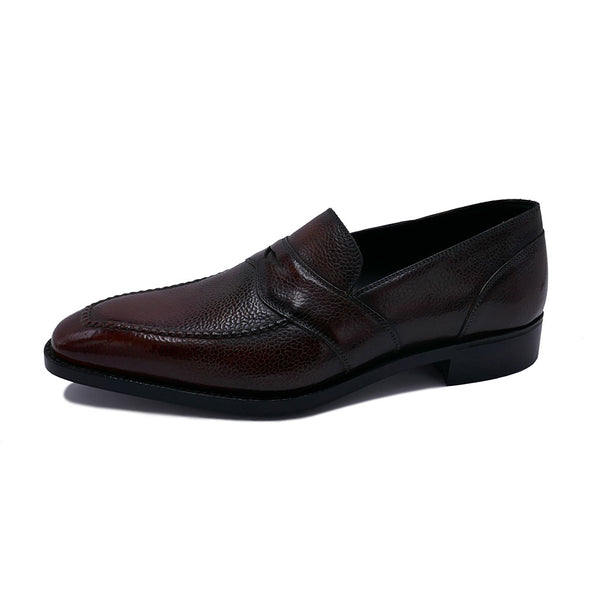 Penny Loafer Hand Stitched Apron  (Made-to-Order) - Mahogany Grain Calf Leather