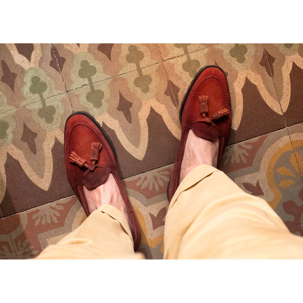 Dirty red suede tassel loafer by Norman Vilalta Bespoke Shoemakers