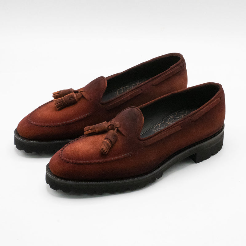 Tassel Loafer Simple with Apron (Made-to-Order) - Dirty Red Suede