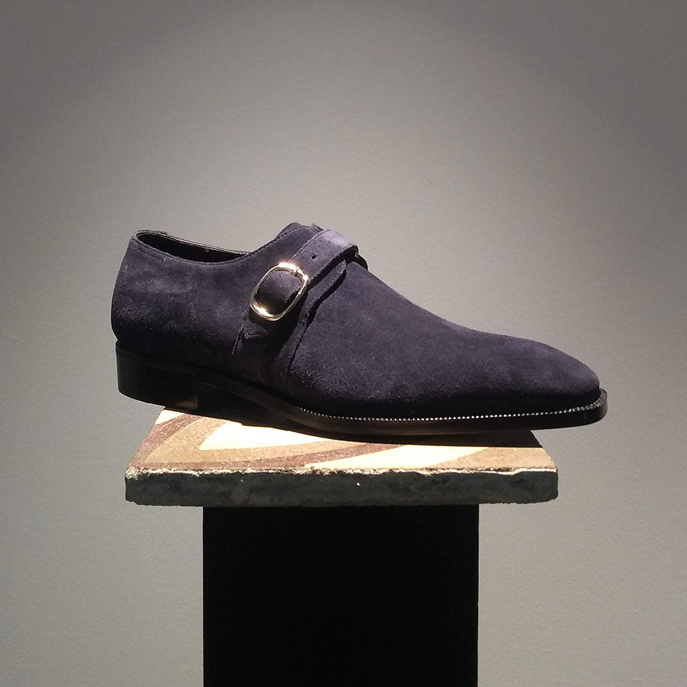 Super Monk Shoe (Limited Edition MTO with The Hand) - Navy Suede