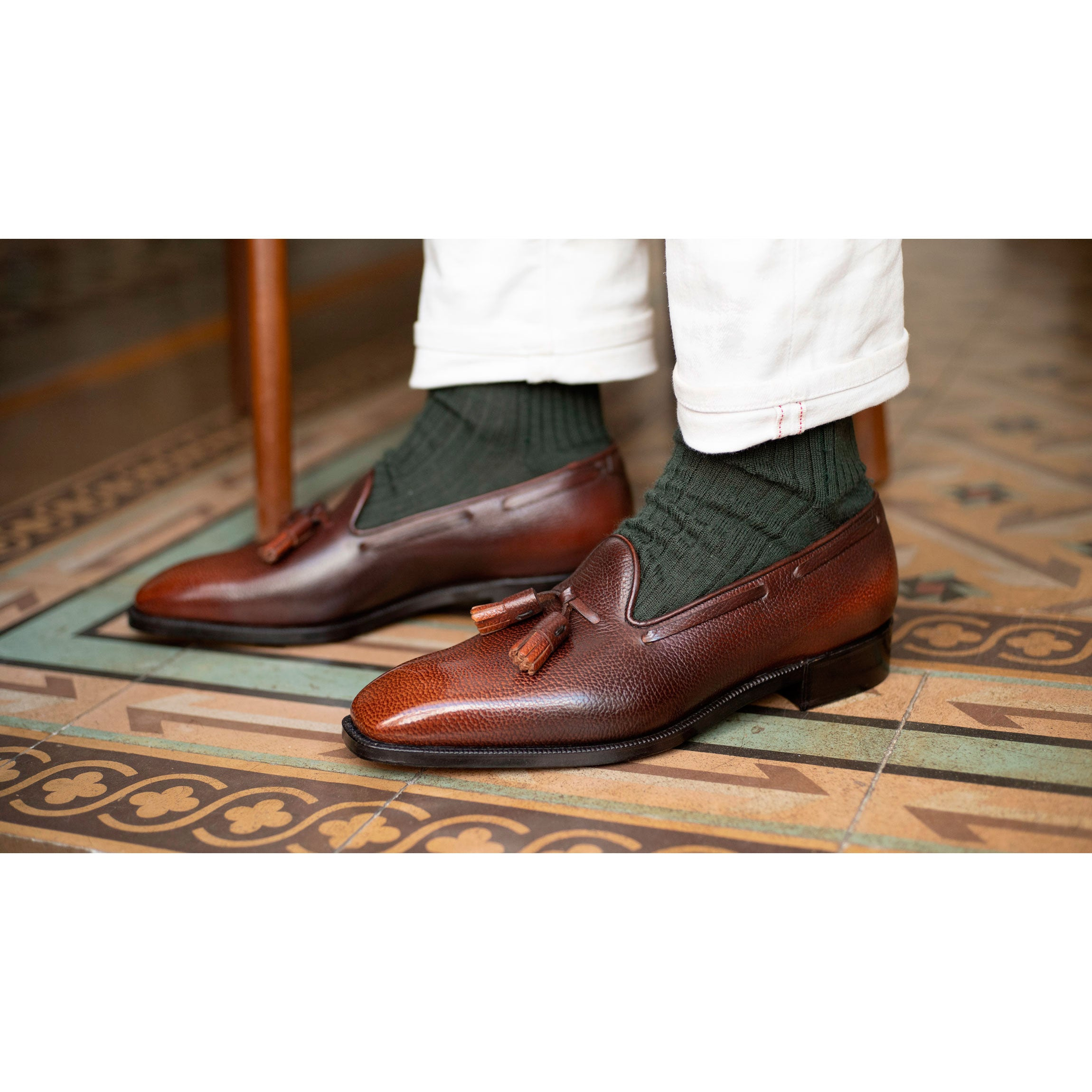 Chiseled Toe Tassel Loafer (Made-to-Order) - 3D Brown Patina