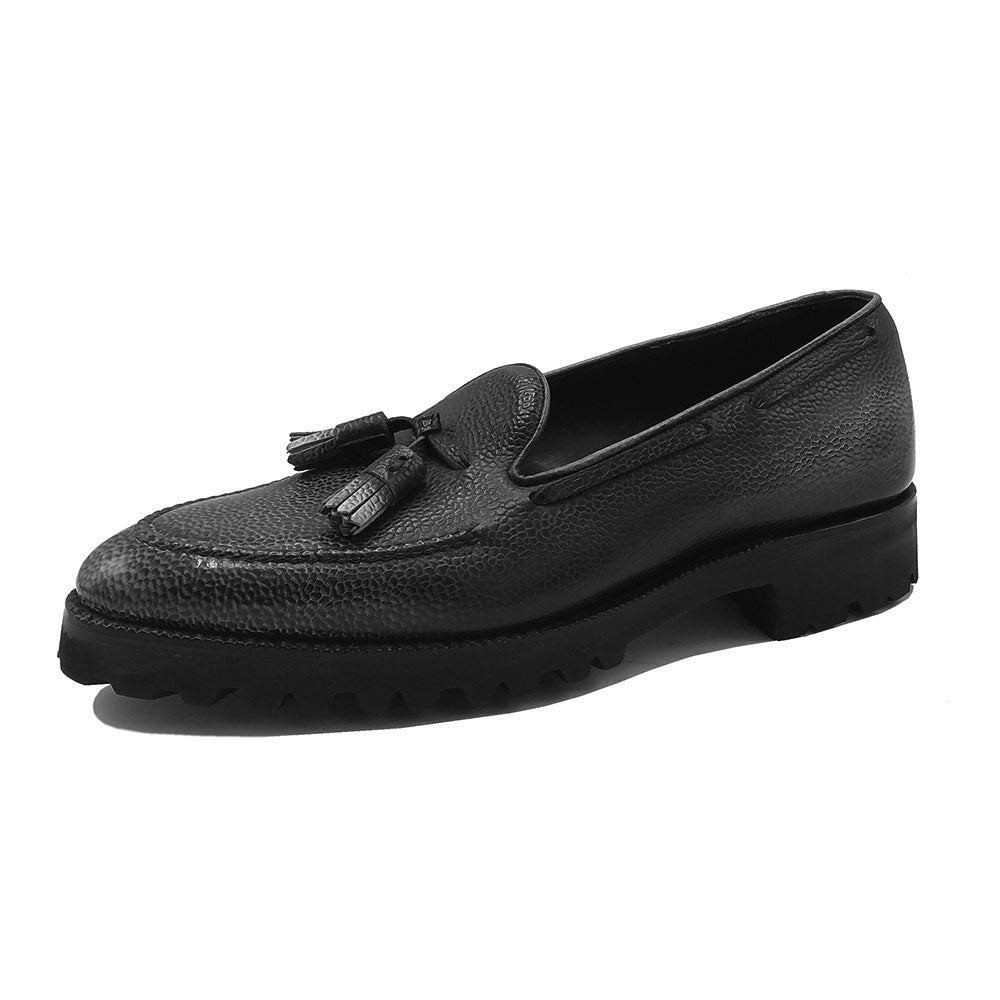 Tassel Loafer Simple with Apron (Made-to-Order) - Black & Grey 3D Patina